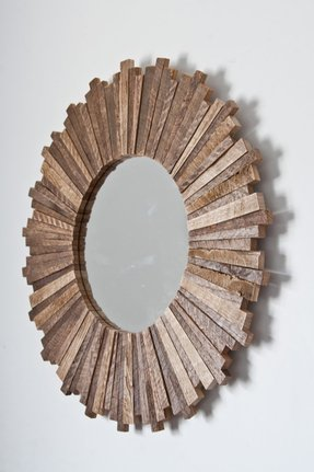 Sunburst mirror 21x21x1 reclaimed wood