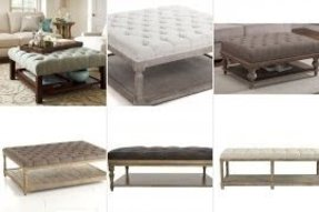 Tufted ottoman with shelf