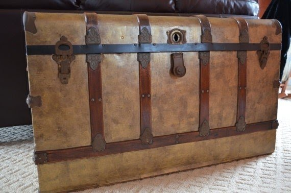 Collection Rustic Reclaimed Wood Extra Long Storage Trunk Chest. Vintage  Monitor Top Trunk Extra Large