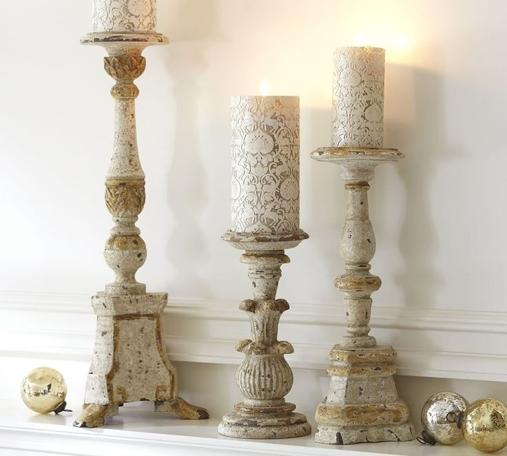 White gold wood candle holders