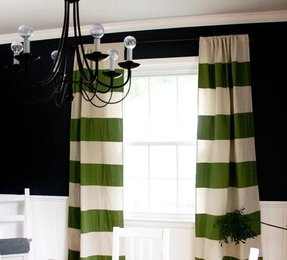 Wide striped curtains
