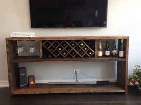 Wine bar with bottle rack and glass rack