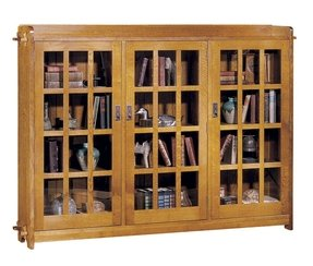 Wood Bookcase With Glass Doors 16