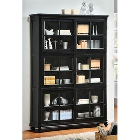 Wood Bookcase With Gl Doors 5