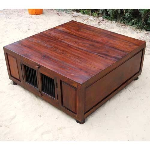 Wood Large Square Storage Trunk Cocktail Coffee Table