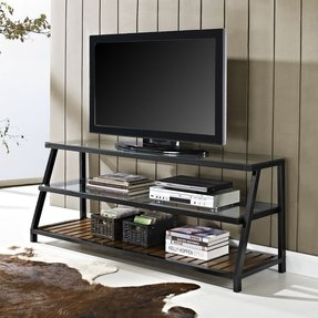 60 inch glass metal antique brown wood tv stand 1