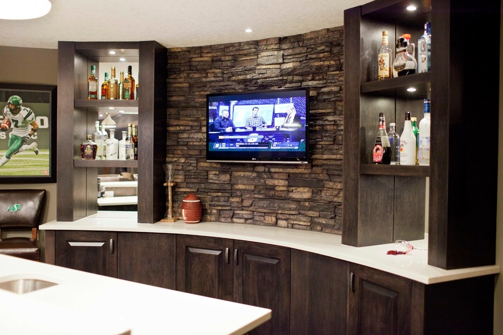 Basement Bar With Contemporary Stylization. It Features A Durable Wooden  Construction With Dark Brown Color. Storage Cabinets And Shelves Are  Spacious.