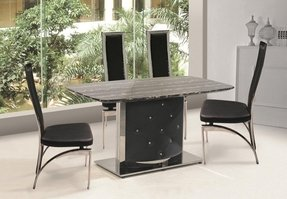 Black and white marble dining table