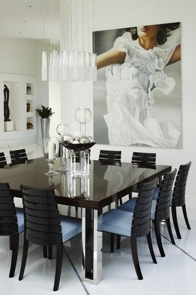 Black marble dining table and chairs