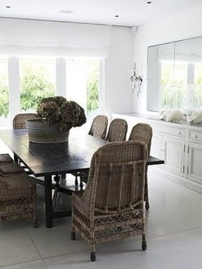 Black wicker dining chair 1
