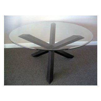 Contemporary cross legs 60 glass top round dining table