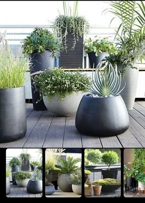 Large black planter 13