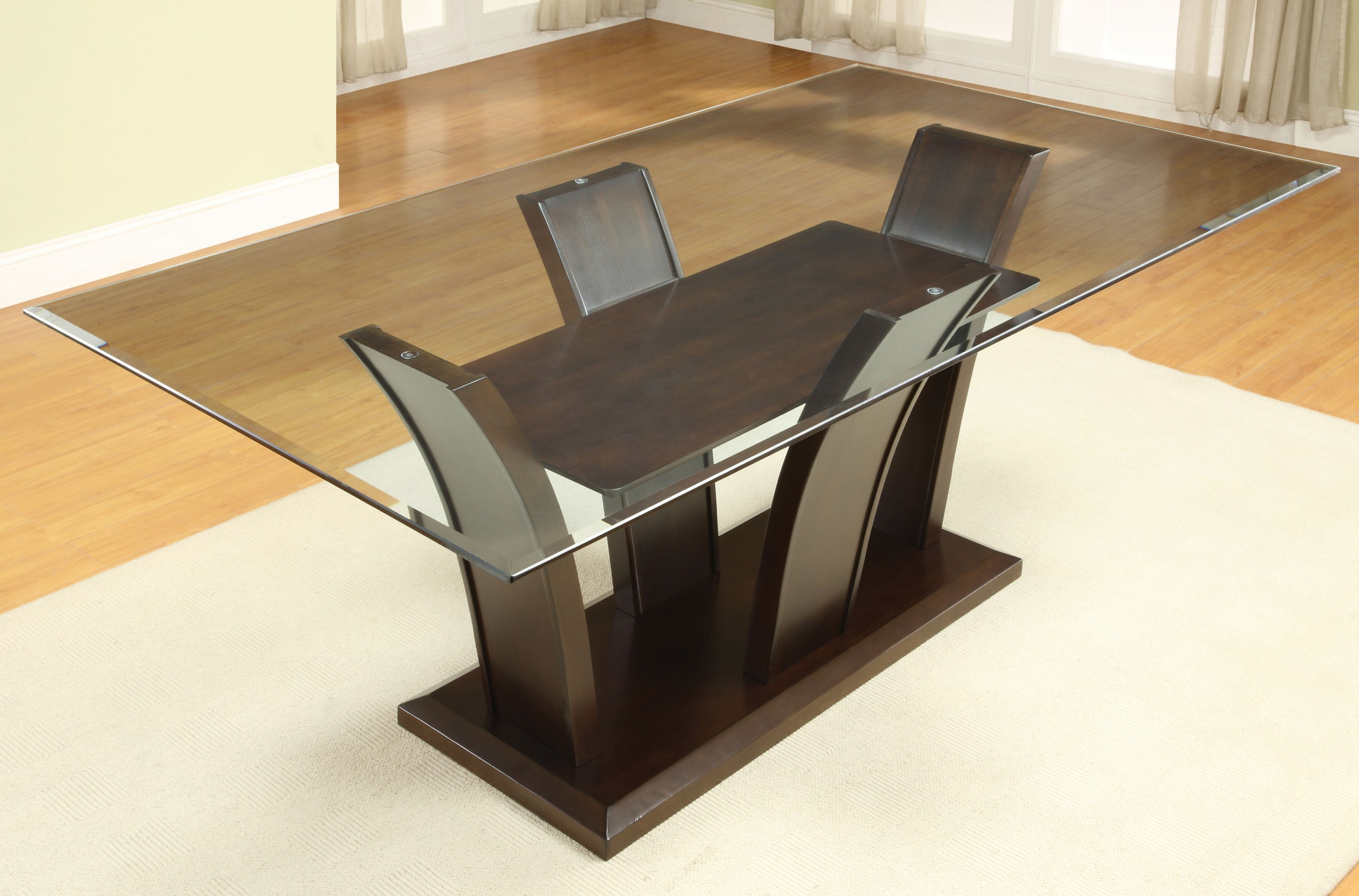 Marion rectangular glass top dining table  sc 1 st  Foter & Glass Top Dining Tables With Wood Base - Ideas on Foter