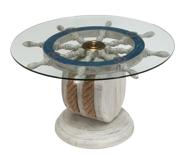 Charmant A Unique Coffee Table In The Marine Style. It Features A Round Top Of Clear  Tempered Glass (with A Brass Ring In The Centre) Resting On A Shipu0027s Wheel  In ...