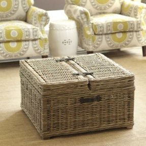 Rattan coffee table with storage 1