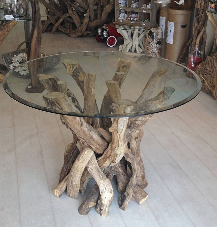 Round Glass Top Dining Table Wood Base 1
