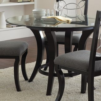 Round Gl Top Dining Table Wood Base 3