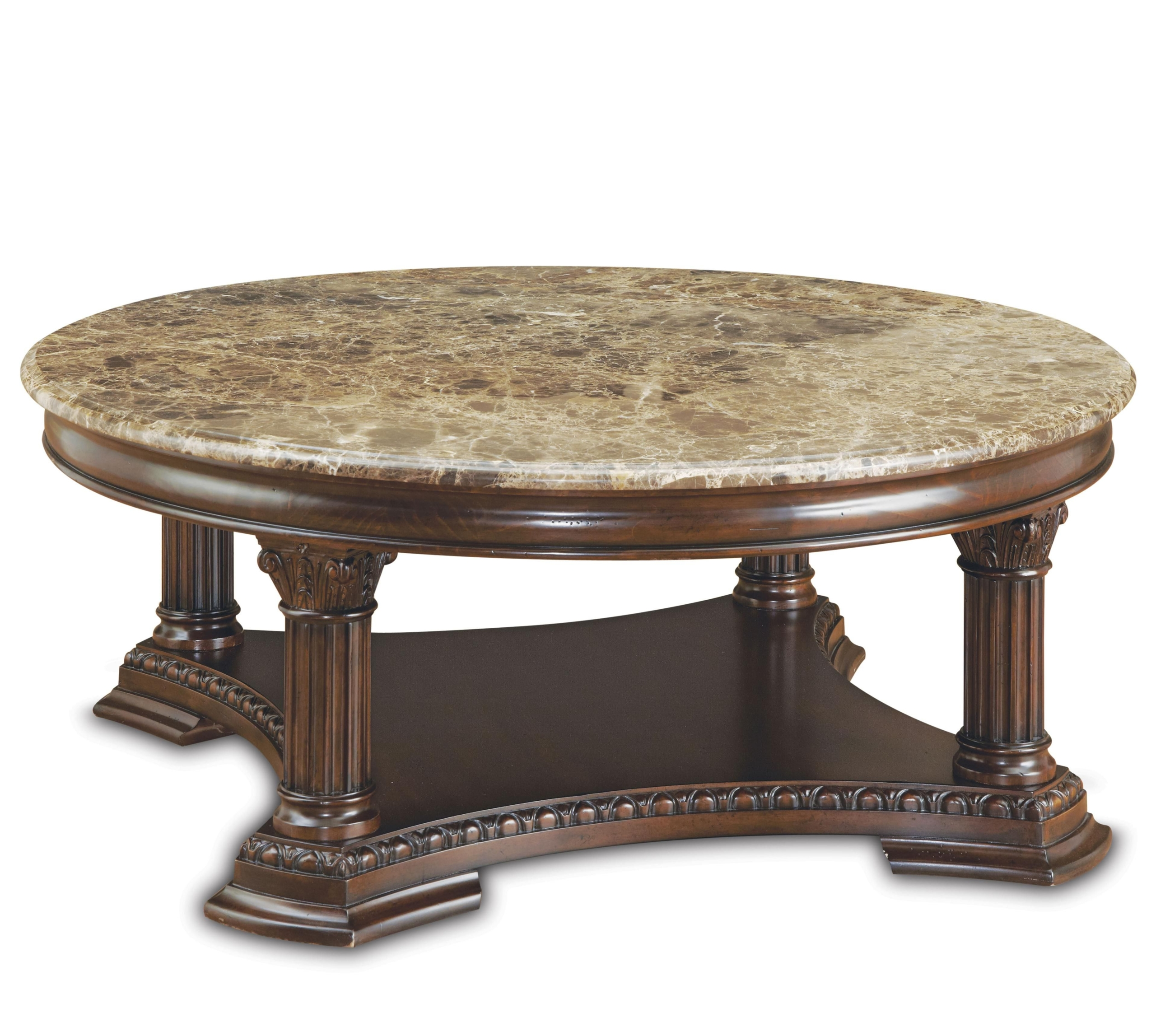 Round Stone Top Coffee Table 2
