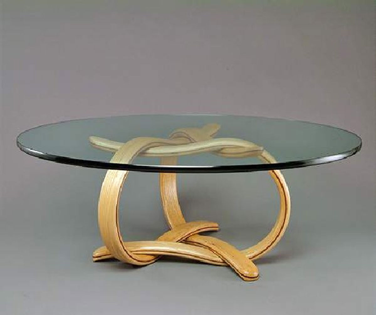 Round Wood Coffee Table With Glass Top