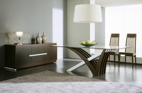 Wood Base Glass Top Dining Table 7
