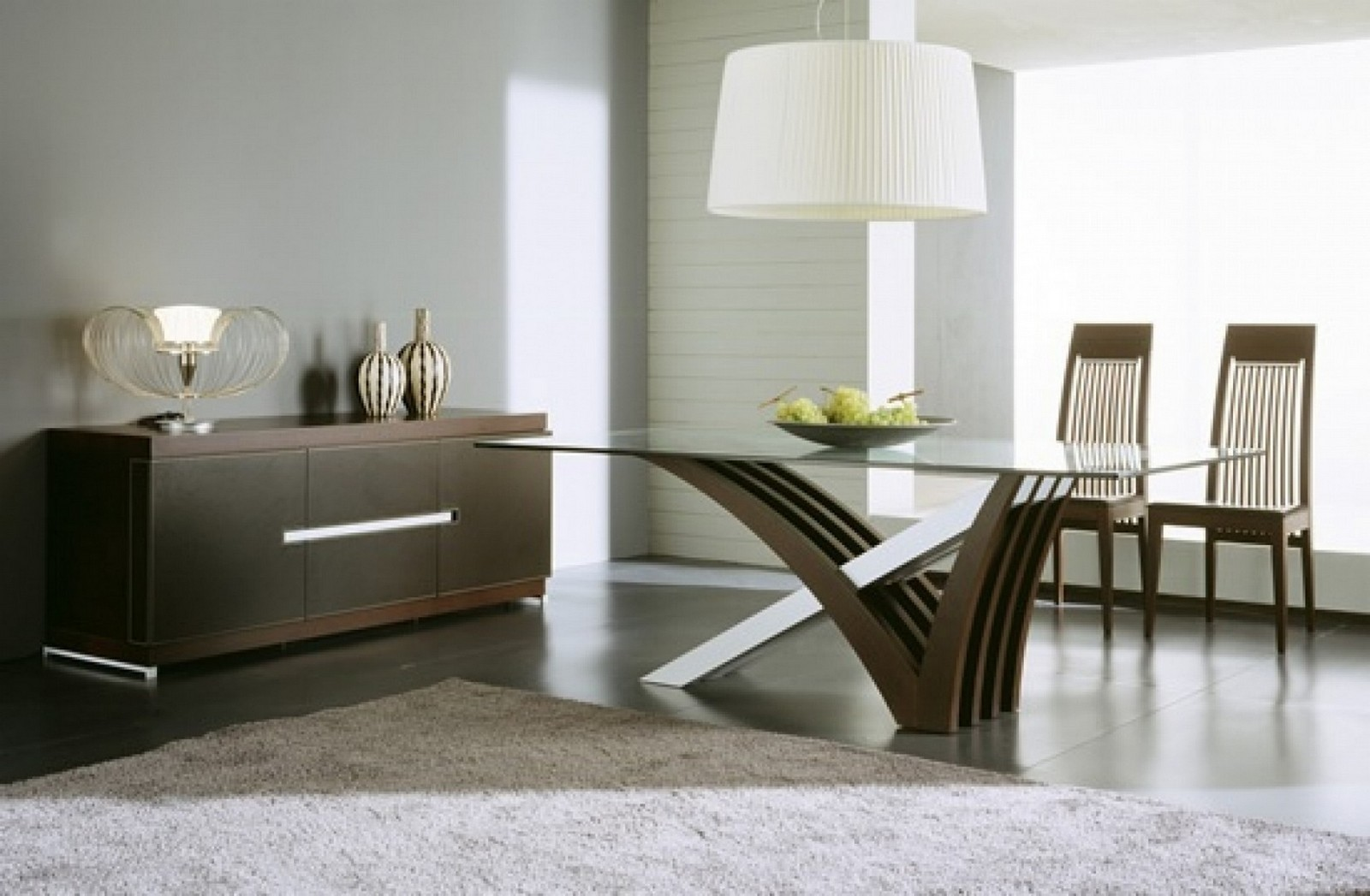 Charmant Wood Base Glass Top Dining Table 7