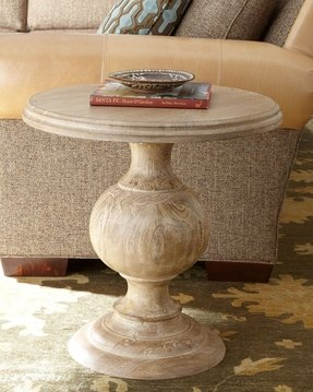 Wood pedestal side table