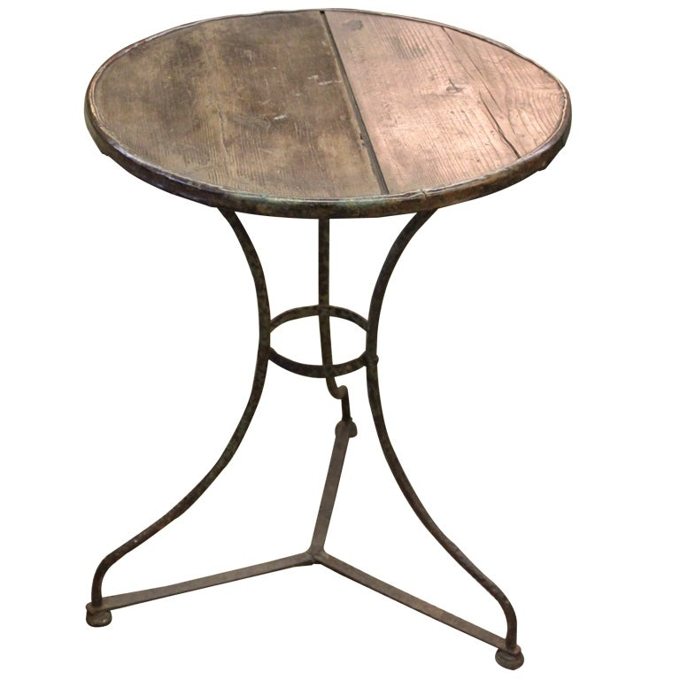 19thc french iron bistro table rare wood top
