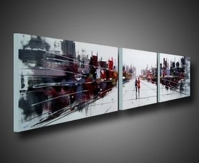 76 In.w X 20 In.w Dream City Landscape Oil Painting Gallery-wrapped Hand Painted Modern Abstract 3 Piece Wall Art