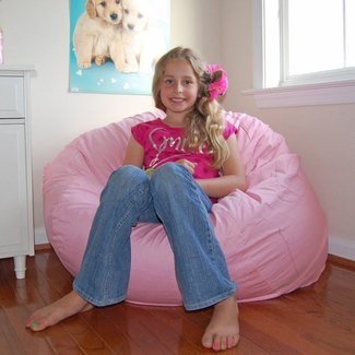 Ahh products pink organic cotton washable bean bag chair 1