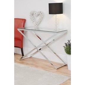 Anikka modern chrome and glass console coffee bedside side lamp