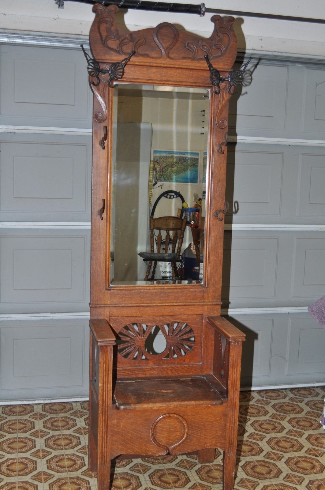 Antique Oak Entry Hall Tree Storage Bench Beveled Mirror Butterfly