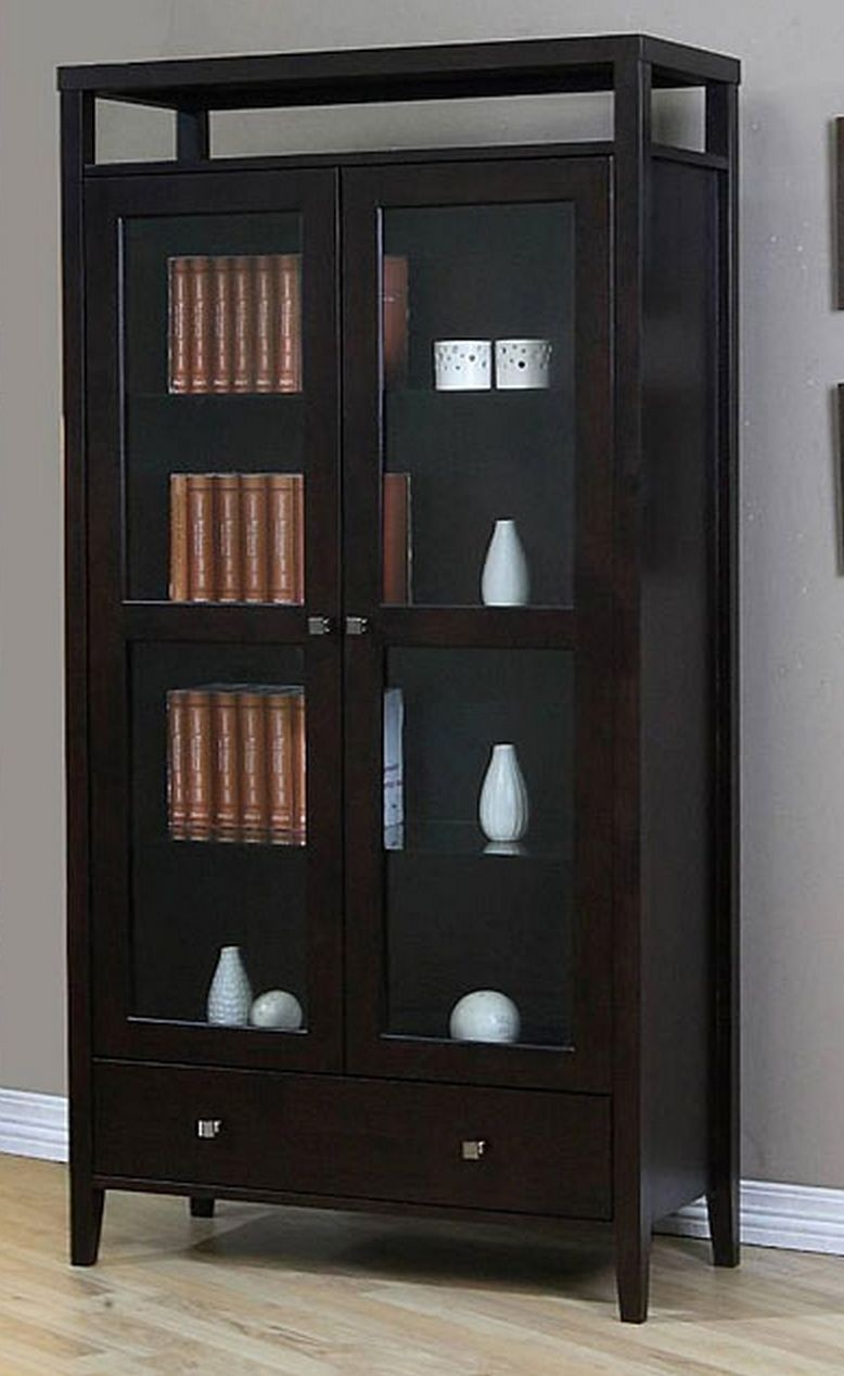 Aristo Modern Halifax Brown Solid Wood 2 Door Bookcase With Glass Door    Tall Media