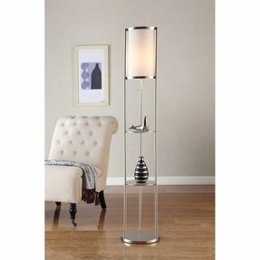 Artiva USA Exeter, Modern Design, 63-Inch Brushed Steel Finish Durable Glass Display Shelf Floor Lamp with Smooth Silk Shade