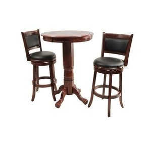 Augusta 3 piece round pub table set in wood light