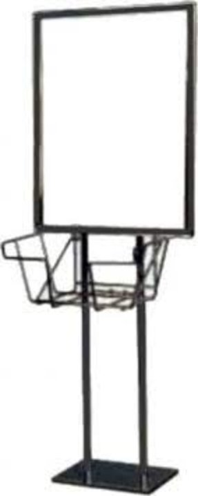 Black Metal 2 Pole Twin Pole Floor Standing Bulletin Holder Poster Sign Stand with Black Wire Literature Basket. Stand holds 22 x 28 Inch Insert