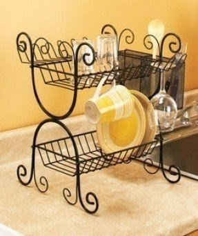 Black wrought iron 2 tier dish rack kitchen cutlery basket