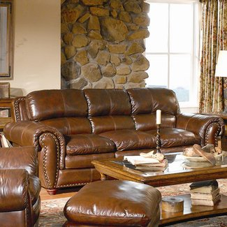 Brown leather couch with nailheads