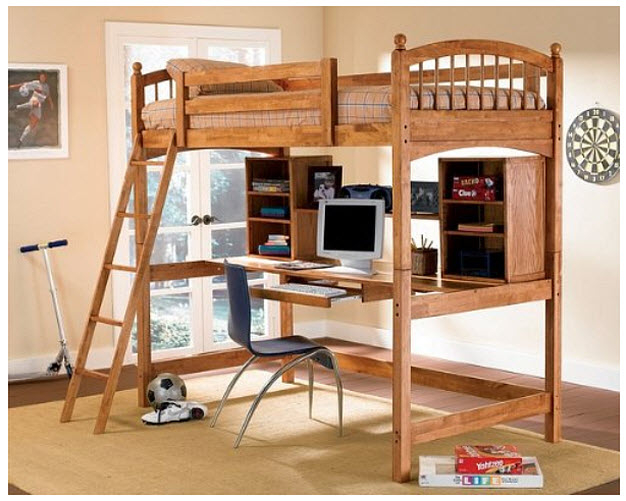 Marvelous Coaster Bunk Bed And Workstation In Warm Brown Finish