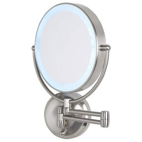 Battery operated wall mounted lighted makeup mirror foter cordless led pivoting 9 wide satin nickel wall mount mirror aloadofball Gallery