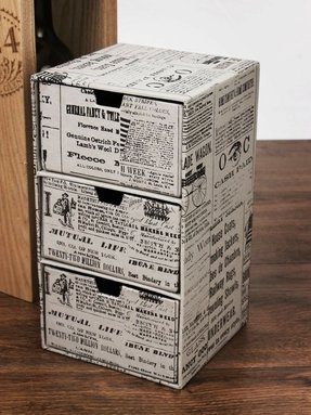 "Crafty 9"" Cardboard Chest of Drawers with Newsprint, Storage and Organizer"