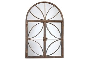 Creative Co-Op Metal Arch Mirror with Doors, Rust