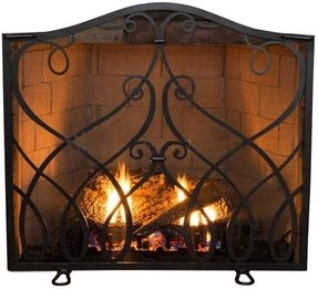 Custom wrought iron fireplace screens