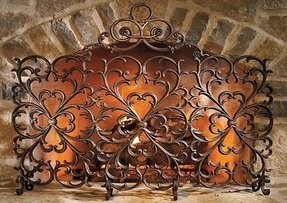 Decorative fireplace screens wrought iron 2