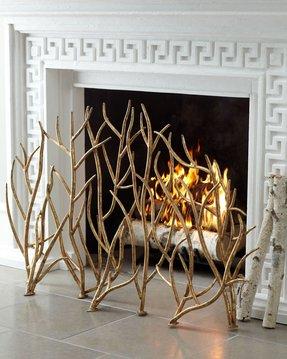 Decorative fireplace screens wrought iron 3