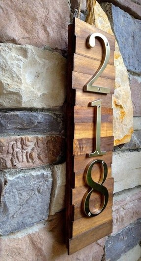 Decorative house number plaque 3s wooden