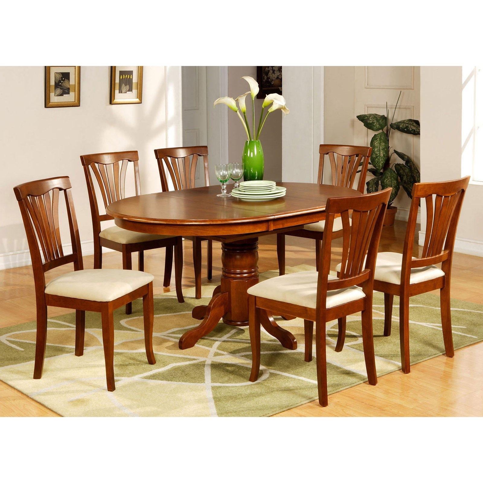 East West Furniture AVON7-SBR-C 7PC Oval Dining Set with Single Pedestal with & Oval Dining Table Set For 6 - Foter
