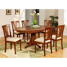 East West Furniture Avon7 Sbr C 7pc Oval Dining Set With Single Pedestal