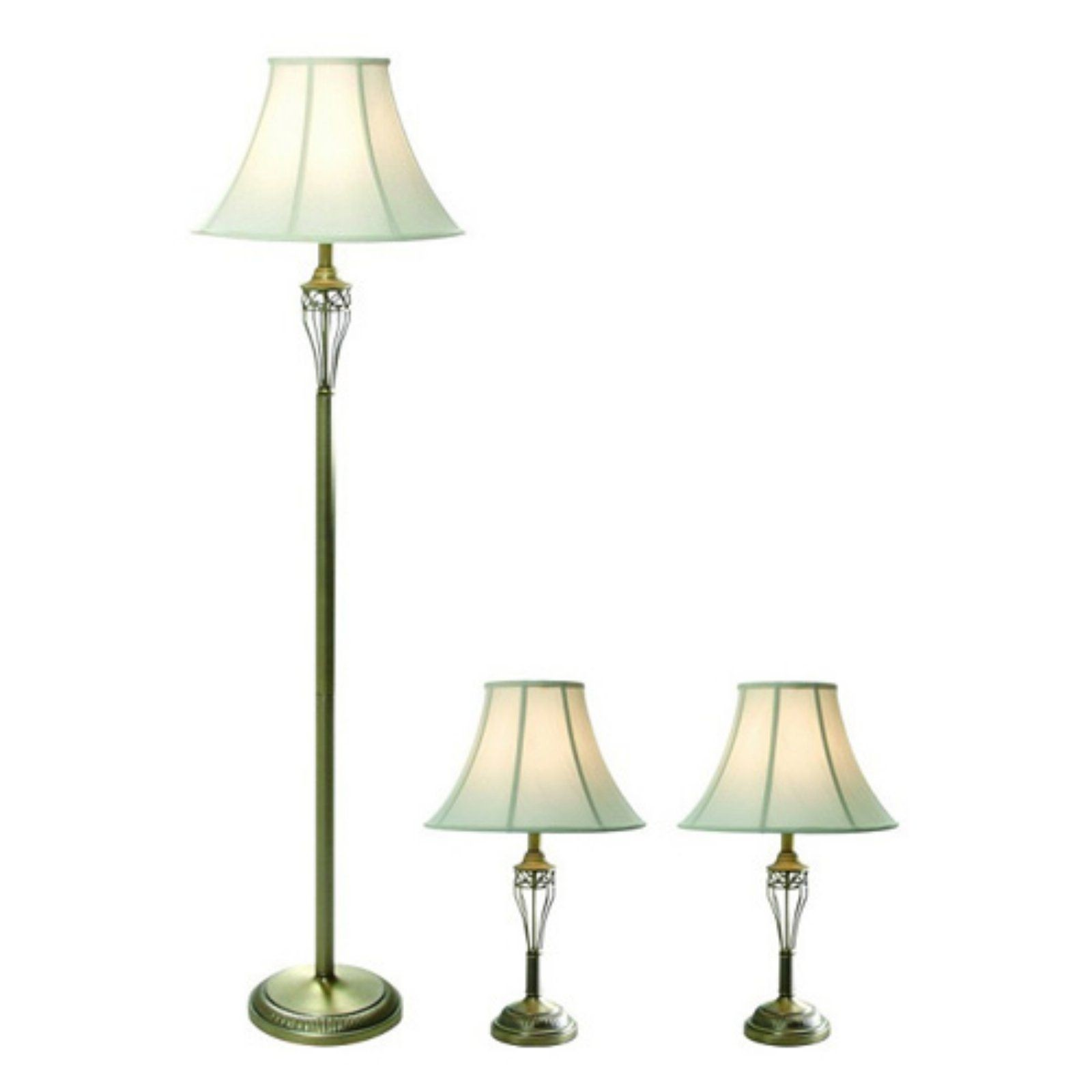 Elegant Designs LC1001 ABS Three Pack Lamp Set (2 Table Lamps, 1 Floor
