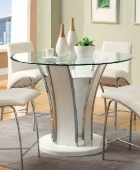 Furniture of America Priscilla Round Counter Height Dining Table, High Gloss Base, White