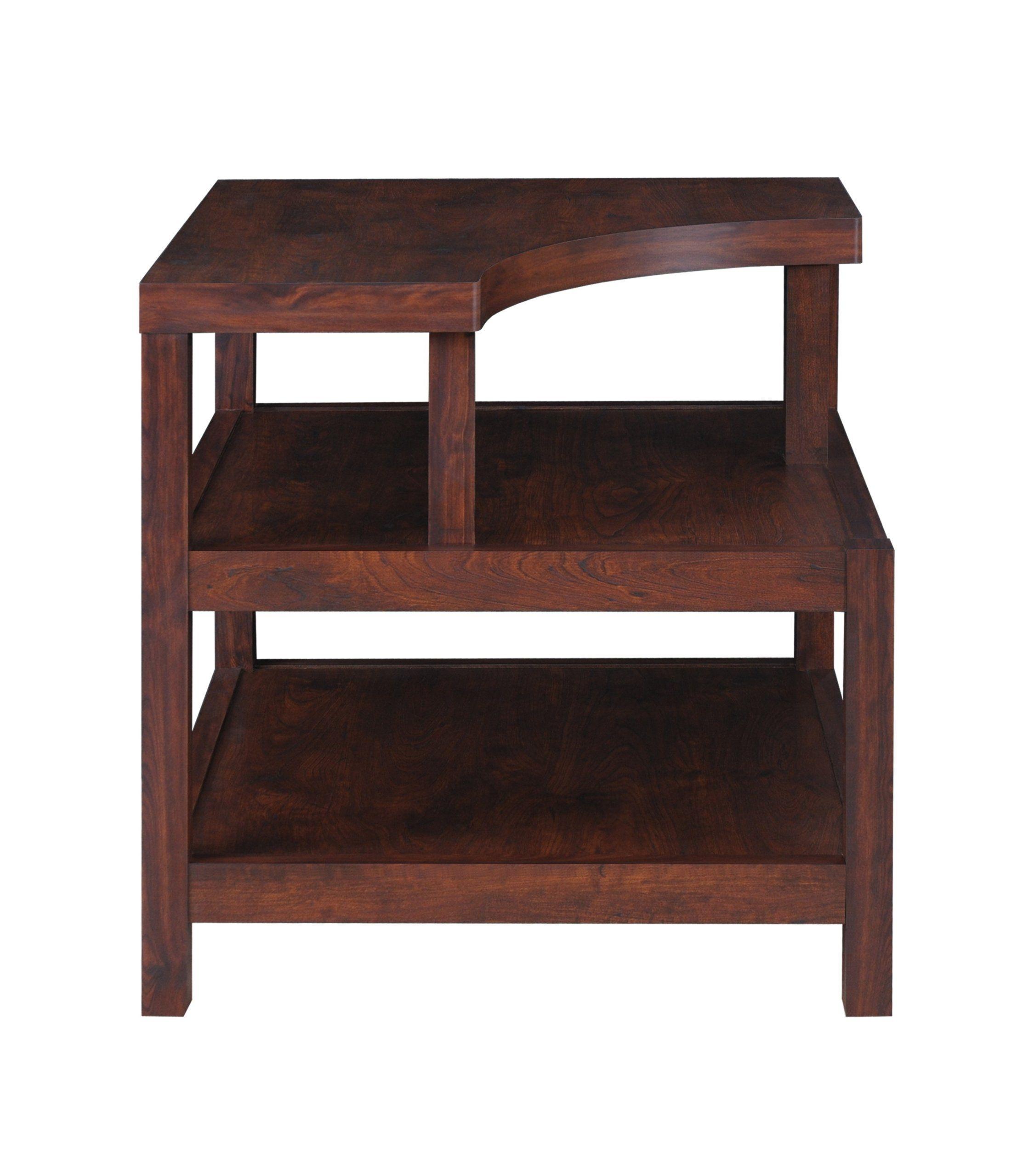 Furniture Of America Torsae 3 Shelf End Table, Vintage Walnut